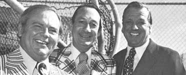 Legendary New York Mets broadcasters Bob Murphy, Lindsey Nelson, and Ralph Kiner